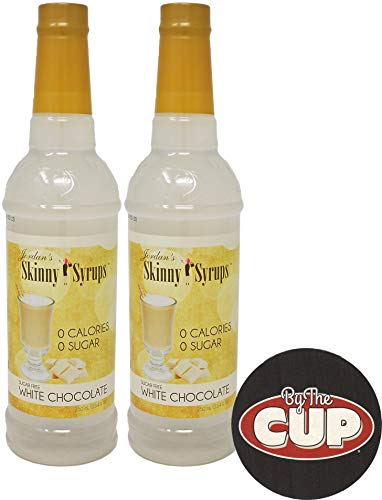 Jordan's Skinny Syrups Sugar Free White Chocolate 750 ml (Pack of 2) with By The Cup Coaster (Sugar Free White Chocolate Syrup)