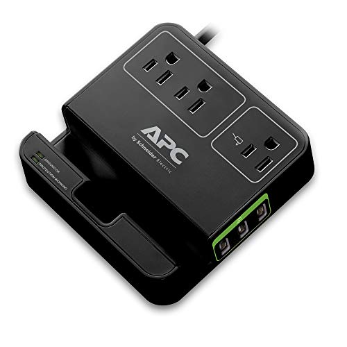 (APC 3-Outlet Surge Protector 1080 Joule with 3 USB Charging Ports, SurgeArrest Essential)