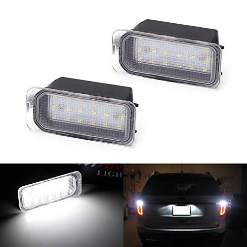 iJDMTOY OEM-Fit 3W Full LED License Plate Light Kit For Ford C-Max Edge Transit Connect Ecosport Ranger, Jaguar XF XJ, Powered by 18-SMD Xenon White LED