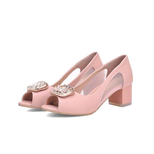 PU on WeenFashion Solid Sandals Peep Kitten Pull Heels Women's Toe Pink pqpwZxXEFn