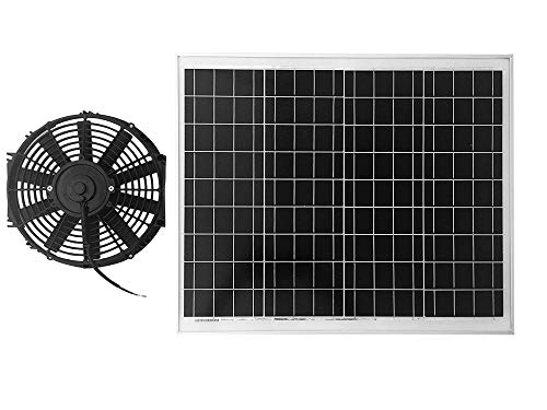 "Amtrak Solar 70 Watt Solar Panel, with a High Powered Fan 12"" DC Fan"