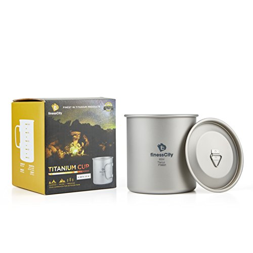 finessCity Camp Mug (450ml/ 600ml) with & Without Lid, Strong & Lightweight Camping Mug/Pot with Measurement Marks, Folding Titanium Cup for Backpacking/Hiking/Camping in Cloth ()