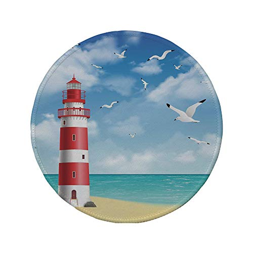 (Non-Slip Rubber Round Mouse Pad,Beach,Realistic Illustration Lighthouse on Calm Seashore Flying Seagulls Ocean Scenery Decorative,Vermilion Blue,11.8
