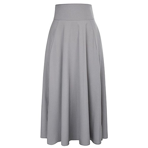 UOFOCO Skirts for Women Maxi Skirt High Waist Pleated A Line Long Front Slit Belted Gray
