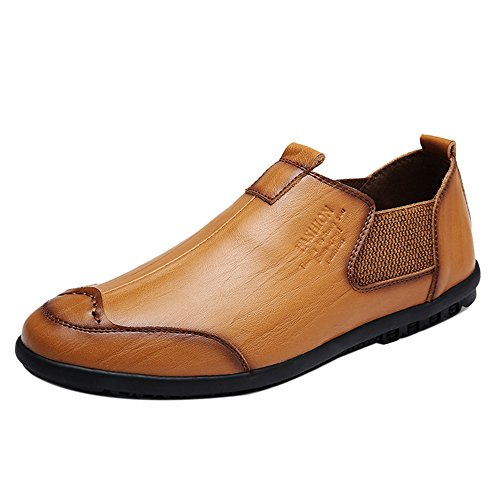 COOLCEPT Men Comfort Vocation Shoes Loafers 246 Light Brown SC8K9t9