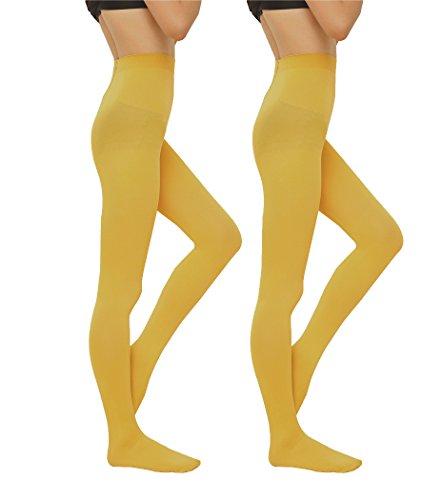 2 Pairs Women 130D Microfiber Opaque Pantyhose TightsyellowM ()