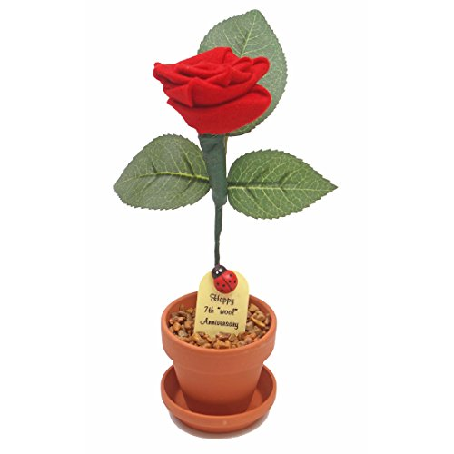 7th Wedding Anniversary Gift Potted Wool Rose