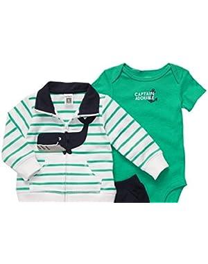 Carter's Baby Boys' 3-piece Cardigan Short Set