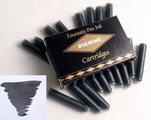 Diamine Refills Jet Black Fountain Pen Cartridge - DM-8000 by Diamine
