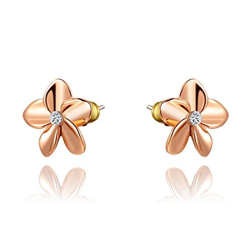 Duo La 14K Gold Plated Cubic Zirconia Flower Elegant Stud Earrings