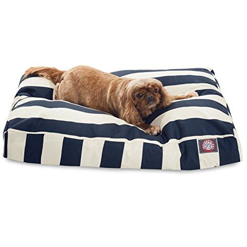 Navy Blue Vertical Stripe Medium Rectangle Pet Bed