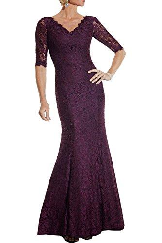 Lang v Traube Abendkleider Braut mia Kleider Brautmutterkleider Ausschnitt Langarm Elegant La Spitze Etuikleider Meerjungfrau Iq7OIF
