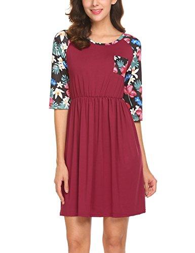 SE MIU Girls Half Sleeve Cute Floral A-Line Knee Length Casual Shirt Cotton Dress, Wine Red, ()