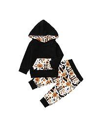 Vinjeely Baby Boys Girls Pumpkim Hooded Long Sleeve Tops+Pants Halloween Outfits