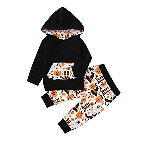 Newborn Halloween Cartoon Sets,Jchen(TM) Infant Baby Boys Girls Cartoon Hooded Tops Pants Halloween Costume Outfits for 0-24 Months (Age: 6-12 Months, Black) by Jchen Baby Sets