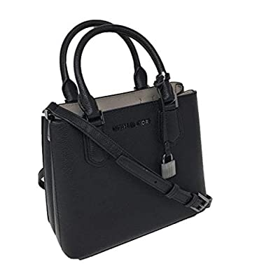 Michael Kors Adele MD Leather Messenger Bag Handbag Black