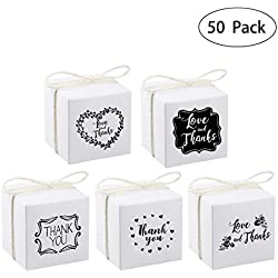 Unomor 50 x Gift Boxes for Thanksgiving Christmas Wedding Party Baby Shower, 2.4 X 2.4 inch Candy Favor Boxes, White