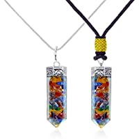 Orgone Pendant -Mix 7 Chakra Orgone Pendant Necklace with Healing Crystals for balancing Chakra-EMF Protection (Orgone Couple Bullet Pendant) Set of 2