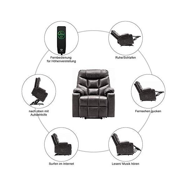 MCombo Fauteuil électrique d'aide à la verticalisation TV Fauteuil relax avec 2 USB, tissu, gris foncé 7286DE