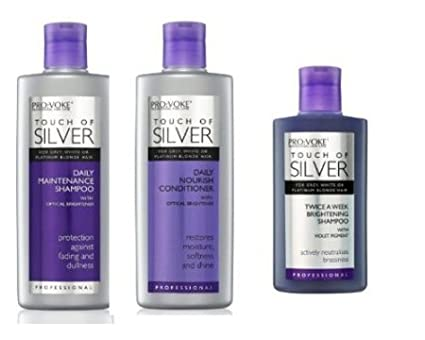 Pro:Voke Set Of 3 - Touch Of Silver - Silver Daily Maintenance Shampoo 200ml, Daily Nourish Conditioner 200ml & Twice A Week Brightening Shampoo 150ml Provoke