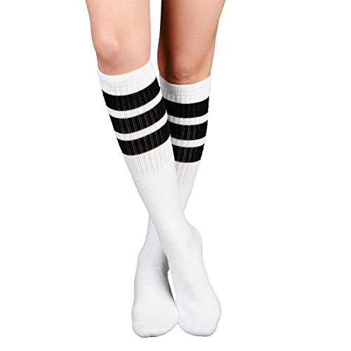 Skatersocks 55,88 cm calzini del tubo calze al ginocchio oldschool calzini sport bianco nero