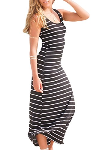 ACHICGIRL Slim Striped Print Racer Back Sleeveless Maxi Dress Black