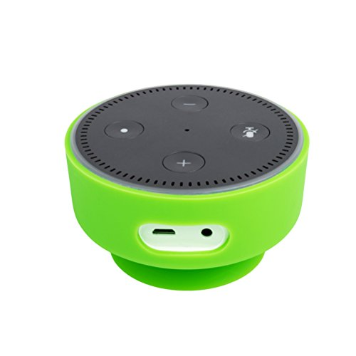 Price comparison product image UEETEK Silicone Case Protable Protective Case Cover Skin with Suction Cup Base for Echo Dot 2 (Green)