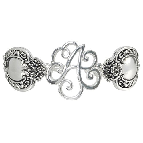 Gypsy Jewels Spoon Handle Style Monogram Initial Silver Tone Magnetic Clasp Bracelet (Letter A)