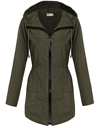 - Hotouch Women Fishtail Festival Raincoat Parka Hooded Jacket Coat(Army Green,L)
