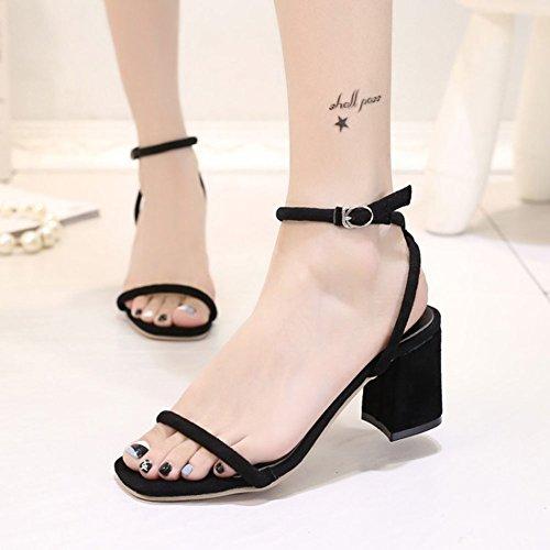 Cinturino Alla Caviglia Con Cinturino Alla Caviglia Aperto Quadrato Sexy Femminile Chfso Al Centro Dei Sandali Con Tacco Medio Nero