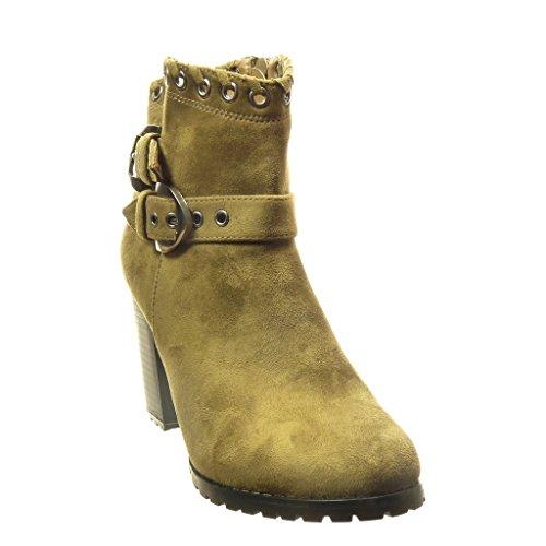 Angkorly - damen Schuhe Stiefeletten - Combat Boots - Santiags - Cowboy - Perforiert - Schleife Blockabsatz high heel 8.5 CM - Grüne