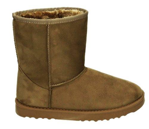 Damen Stiefeletten Schnee Stiefel Boots Flache Schlupfstiefel Warm Gefüttert Winter Schuhe 202 Khaki