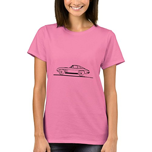 - Zazzle Women's Basic T-Shirt, 1963 Corvette Sting Ray Split Window Coupe Baby Bodysuit, Pink S