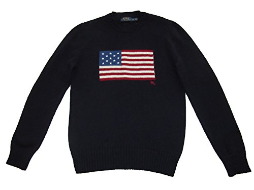 RALPH LAUREN Polo Mens USA Flag Knit Crewneck Cotton Sweater Blue (Medium)