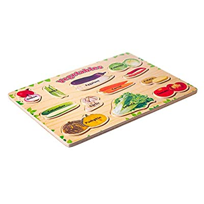 Eliiti Wooden Vegetables Puzzle for Kids 3 to 6 Years Old Boys Girls Developmental Preschool Toy: Toys & Games