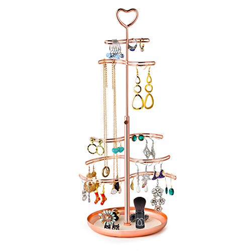 SRIWATANA Jewelry Stand Organizer Metal Jewelry Holder with Electroplating Appearance for Necklace Earrings Rings Rose Gold