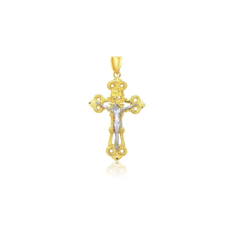 14K Two Tone Gold Large Cross Pendant Jewelry
