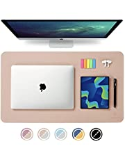 """Knodel Dual-Sided Desk Mat, 23.6"""" x 13.8"""" Desk Pad, Upgrade Sewing PU Leather Desk Blotter Protector, Mouse Pad, Writing Mat for Office and Home (Pink)"""