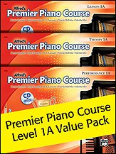 Alfred's Premier Piano Course 1A Value Pack includes Alfred's Premier Piano Course, Level 1A Lesson Book & CD, Theory Book and Performance Book & CD