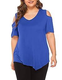 Amoretu Womens Plus Size V Neck Short Sleeve Cold Shoulder T Shirt Tops(Blue,4X)
