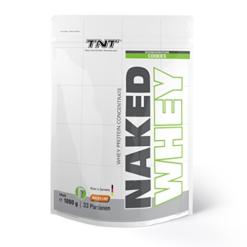 High-quality Whey Protein | Low Carb and Low Fat | Protein Shake for Muscle Building and Weight Loss | Gluten and Lactose free with BCAAs | Free Shaker! | TNT NAKED WHEY Powder 1kg - COOKIES&CREAM