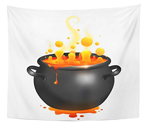 Emvency Tapestry Wall Hanging Red Cartoon Black Cauldron with Orange Witches Magic Potion Yellow Pot Soup 50