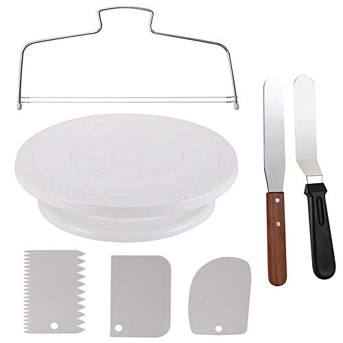 Cake Decorating Turntable,Thsinde Cake Decorating Supplies With Decorating Comb/Icing Smoother(3pcs),2 Icing Spatula With Sided & Angled]()