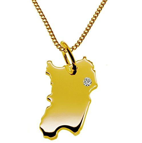 Endroit Exclusif Sardaigne Carte Pendentif avec brillant à votre Désir (Position au choix.)-avec Chaîne-massif Or jaune de 585or, artisanat Allemande-585de bijoux