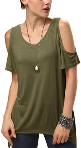 Urban CoCo Women's Vogue Shoulder Off Wide Hem Design Top Shirt - XXX-Large - Army Green