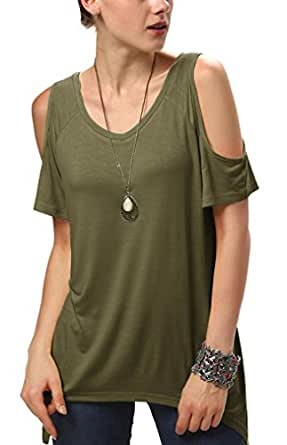 Urban CoCo Women's Vogue Shoulder Off Wide Hem Design Top Shirt - X-Small - Army Green