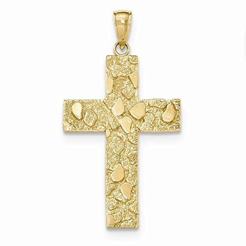 14K Yellow Gold Polished and Textured Nugget Block Style Cross Pendant