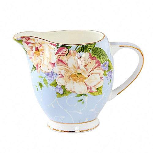 Country Vintage Flower Pattern Ceramic Creamer Coffee Milk Tea Pitcher Porcelain Honey Jug Sauce Pitcher Jug Vase Syrup Dressing Server Mug Cup Creamer with Handle for Kitchen Home -