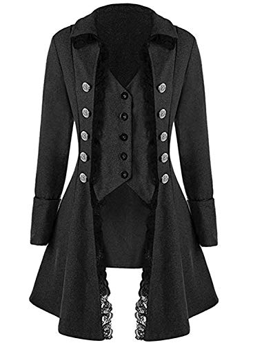 Women's Gothic Steampunk Corset Halloween Costume Coat Victorian Tailcoat Jacket (XXXL, Black) -