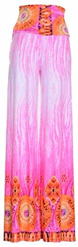VIV Collection Printed Palazzo Pants (Small, Pink ()